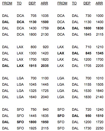 Virgin America 8.2014 DAL Schedule