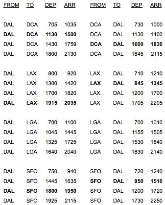 Virgin America 8.2014 DAL Schedule