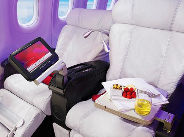 Virgin America seat and food service (Virgin America)(LR)