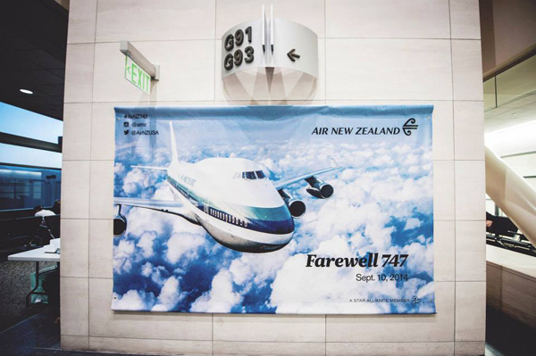 Air New Zealand Farewell 747 banner