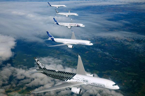 Airbus A350 Test Fleet in Formation 1 (Airbus)(LRW)