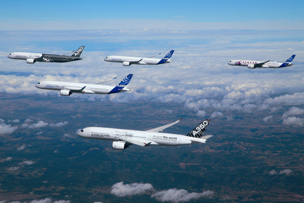 Airbus A350 Test Fleet in Formation 2 (Airbus)(LRW)