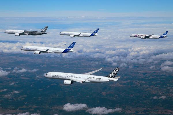 Airbus A350 Test Fleet in Formation 2 (Airbus)(LRW)