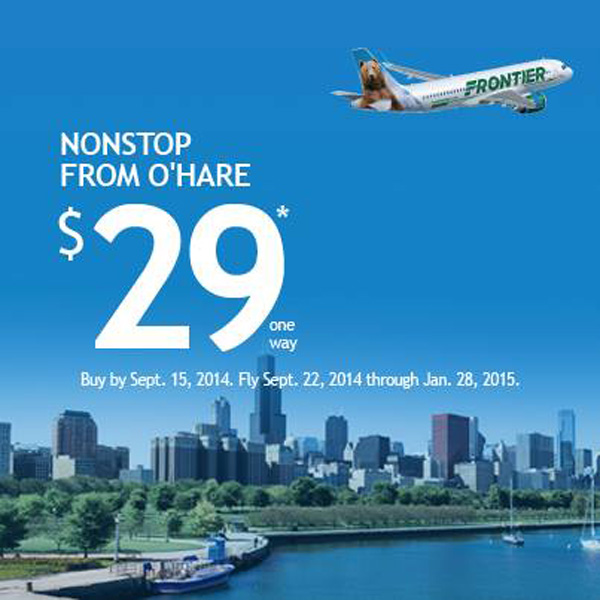 Frontier $29 fares from Chicago O'Hare