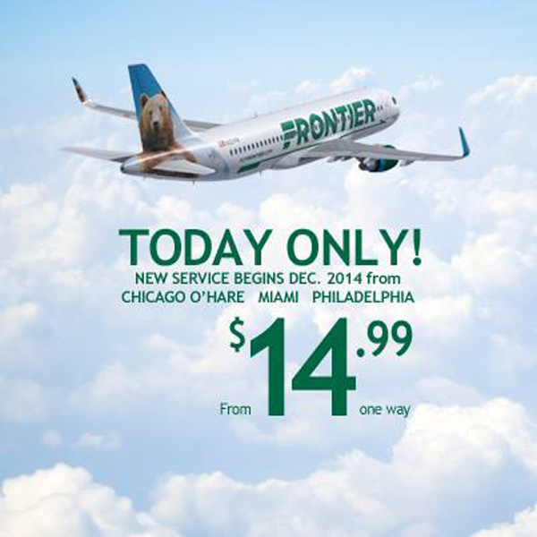 Frontier MIA ORD and PHL $14.95 banner