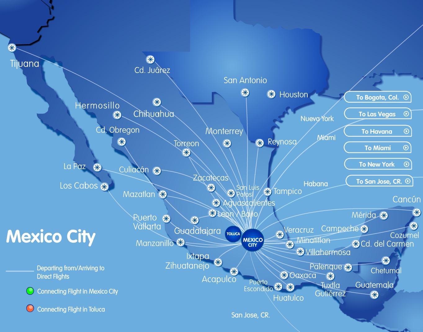 Interjet Mex 9 2014 Route Map