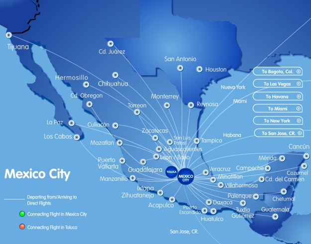 Interjet MEX 9.2014 Route Map