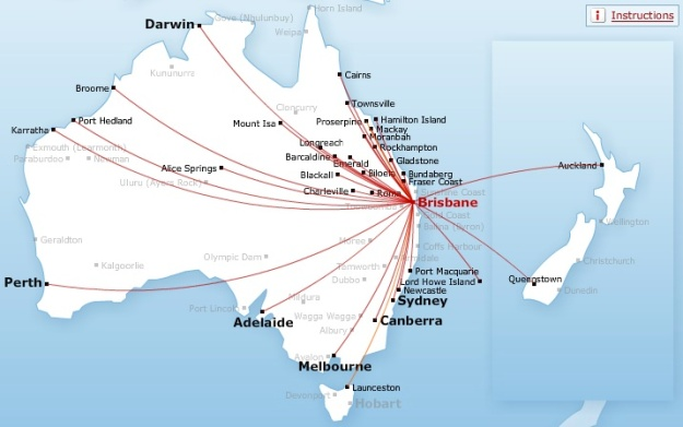 QANTAS-QANTAS LINK 9.2014 BRISBANE ROUTE MAP