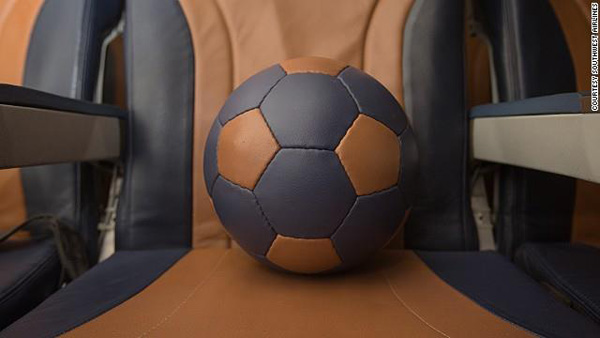 Southwest seats made into soccer balls (Southwest)