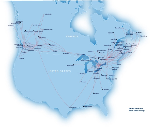 Air Canada Express-Jazz 10.2014 Route Map
