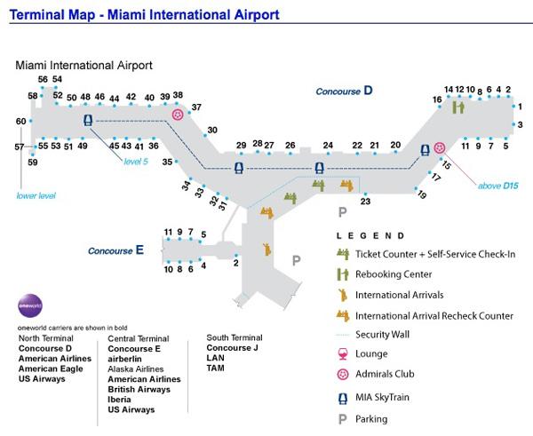 American MIA Hub Terminal Map