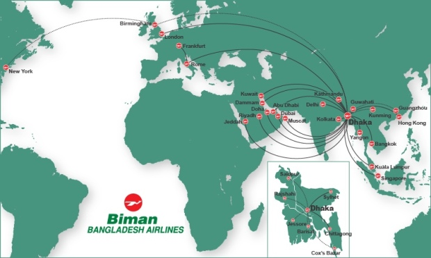Biman Bangladesh 10.2014 Route Map
