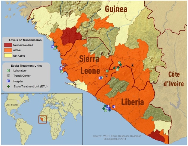 CDC Map - Ebola Affected Areas in West Africa