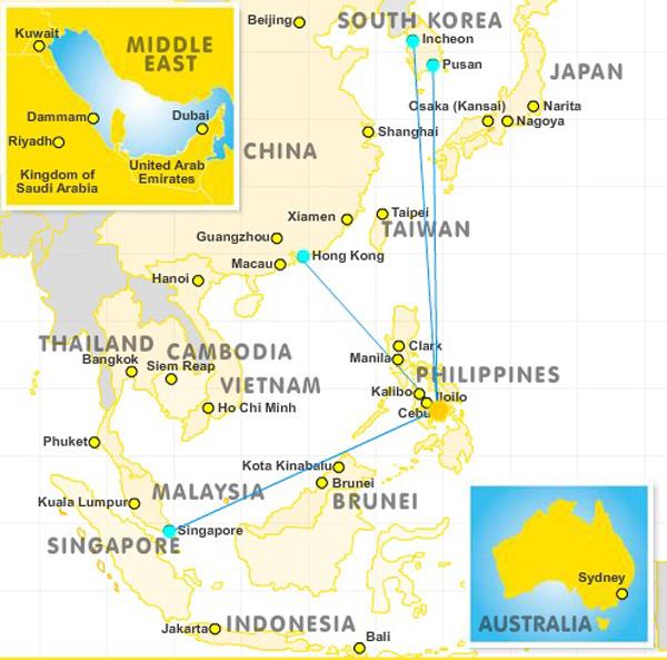 Cebu Pacific Air Cebu 10.2014 Route Map