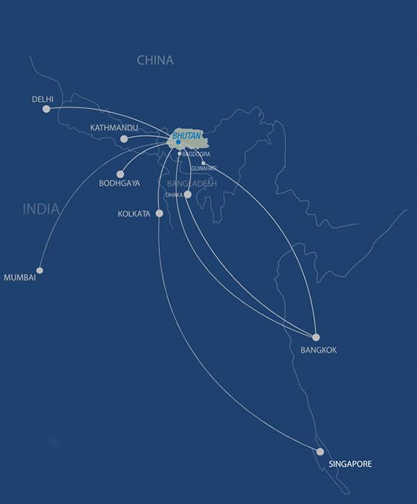 Drukair 10.2014 Route Map