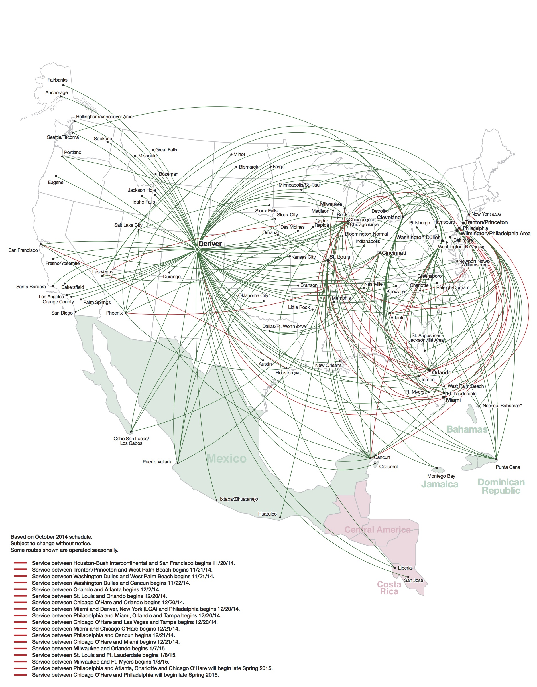 Frontier airlines to pull out of eugene oregon world airline news frontier 102014 route map freerunsca Image collections