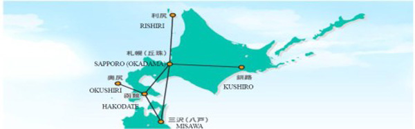 Hokkaido Air System 10.2014 Route Map