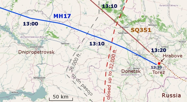 Malaysia MH 17 Flight Route Map