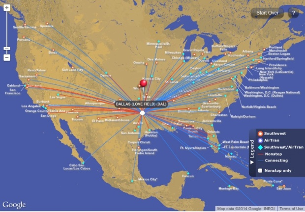Southwest DAL Route Map