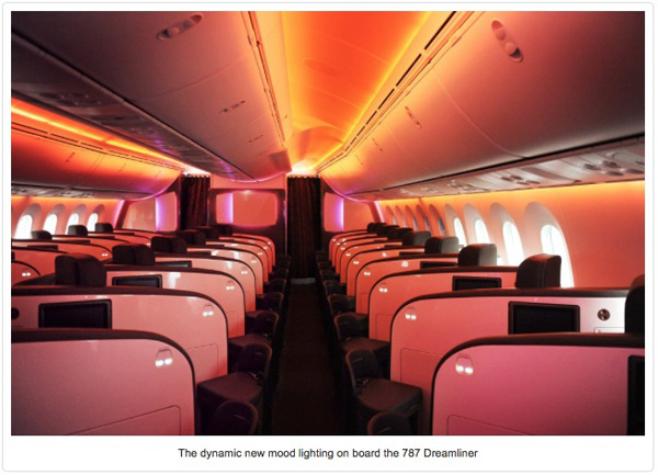 Virgin Atlantic 787-9 Mood Lighting