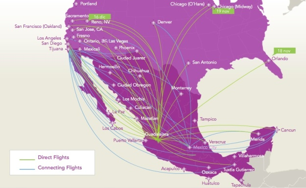 Volaris GDL 10.2014 Route Map