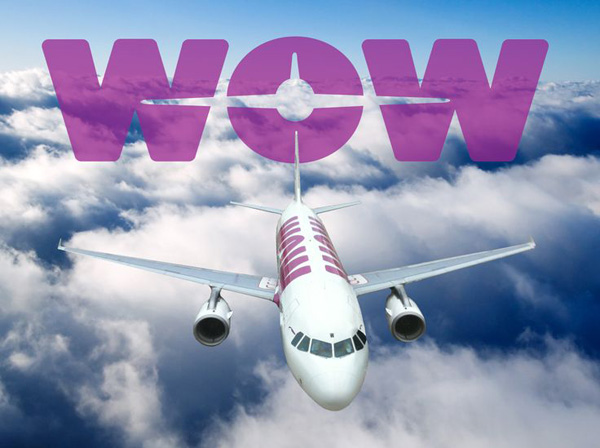 Wow Air logo with A320