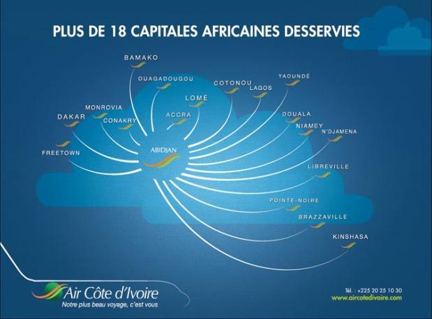 Air Côte d'Ivoire 11.2014 Route Map
