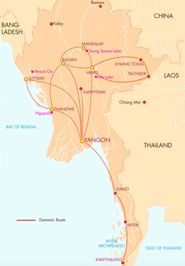 Air Mandalay 11.2014 Route Map