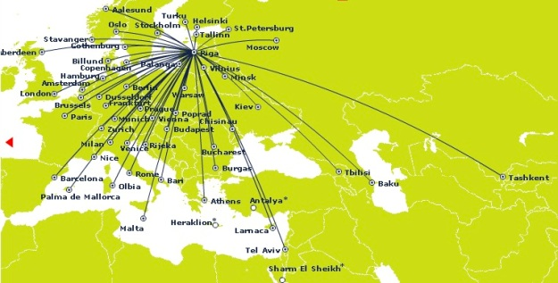 airBaltic Riga 11.2014 Route Map