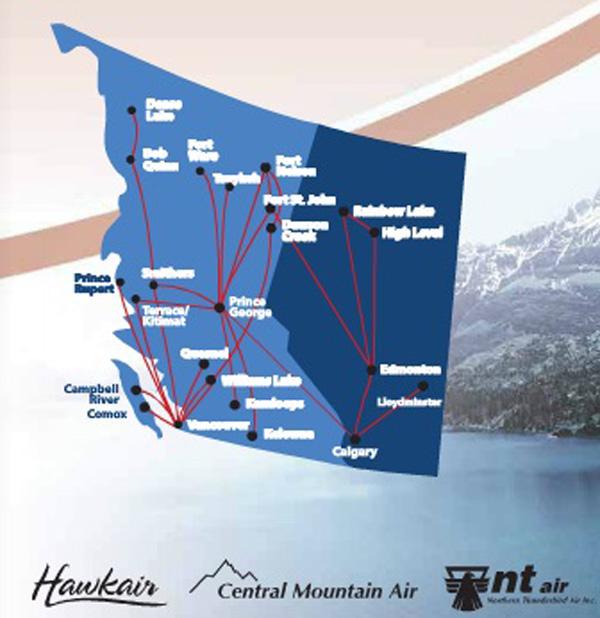 Hawkair-Central Mountain Air-NT Air 11.2014 Route Map