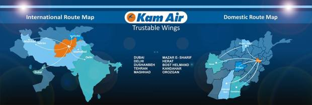 Kam Air 11.2014 Route Map