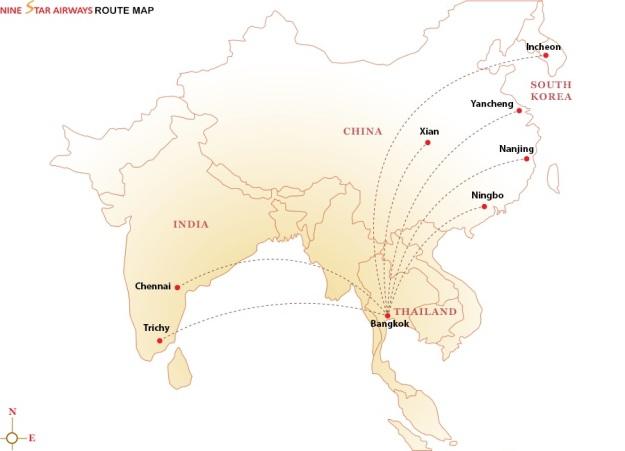 Nine Star Airways 11.2014 Route Map