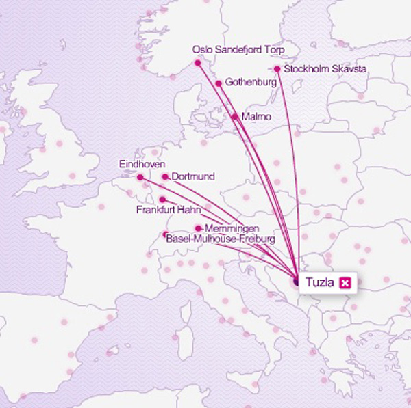 Wizz Air Tuzla 11.2014 Route Map