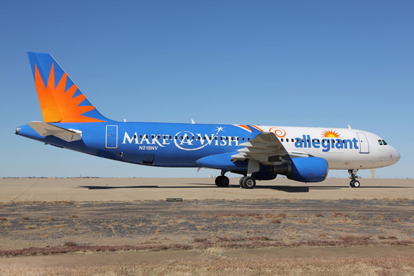 Allegiant A320-200 N218NV (13-Make-A-Wish)(Grd)(Allegiant)(LRW)