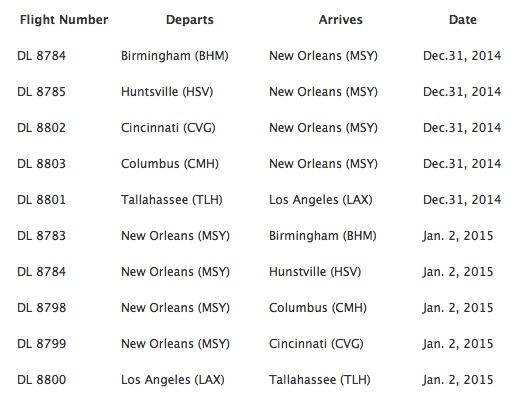 Delta 12.2014 special football flights