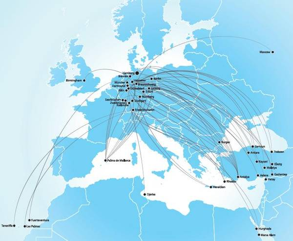 Hamburg Airways 12.2014 Route Map