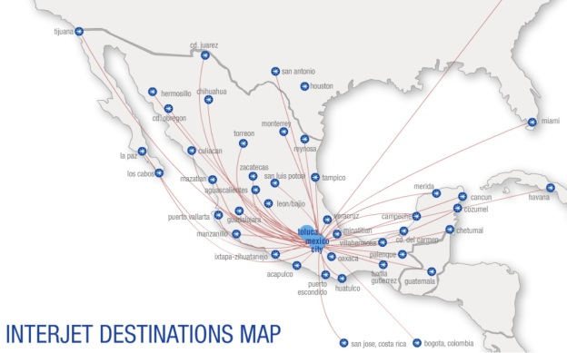 Interjet 12.2014 MEX Route Map