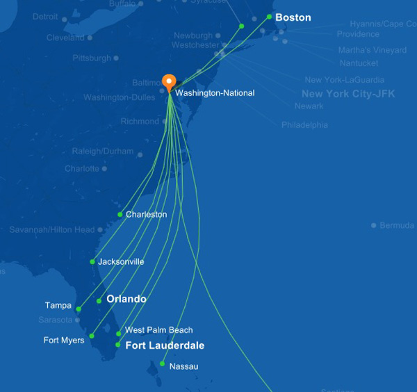JetBlue DCA 12.2014 Route Map
