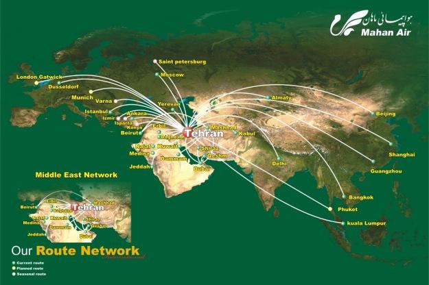 Mahan Air 12.2014 Route Map
