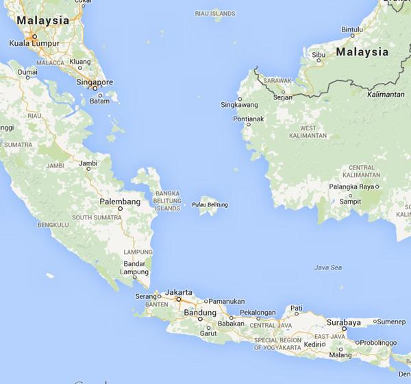 Surabaya-Singapore Map