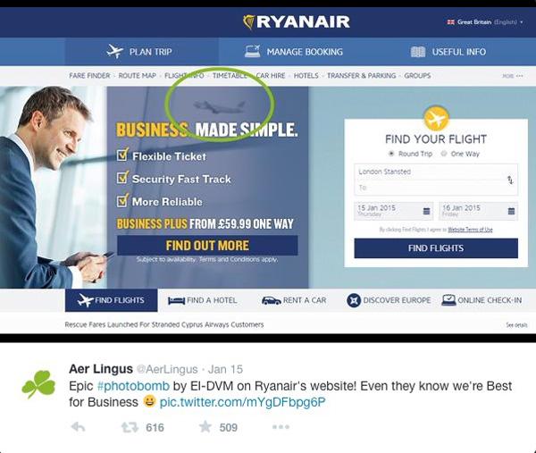Aer Lingus-Ryanair Photobomb #1