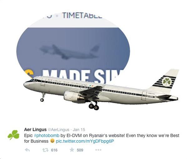 Aer Lingus-Ryanair Photobomb #2