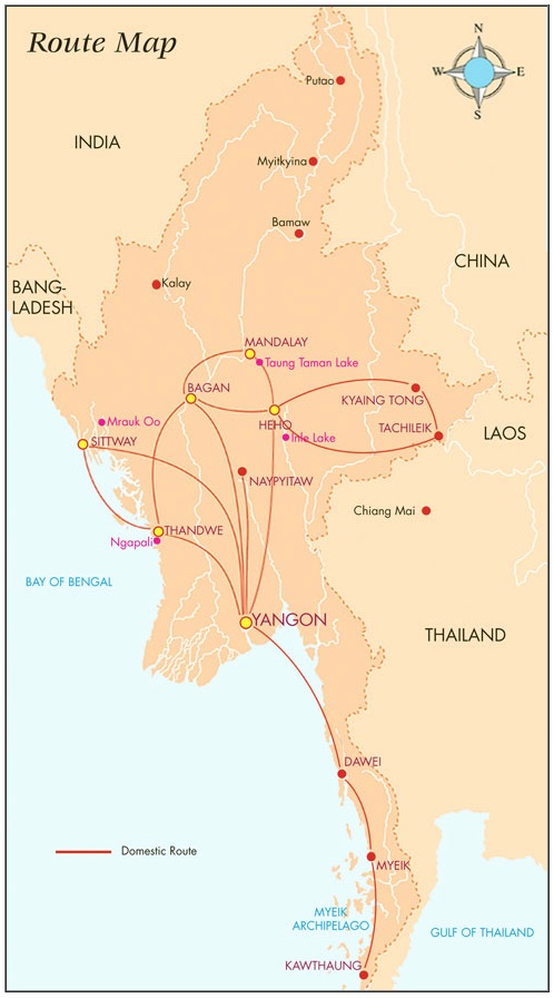 Air Mandalay 12.2014 Route Map