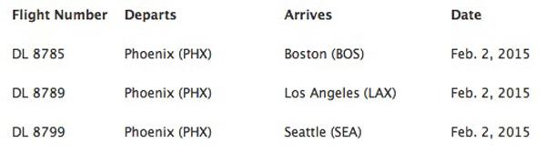 Delta 2.2.15 PHX extra flights
