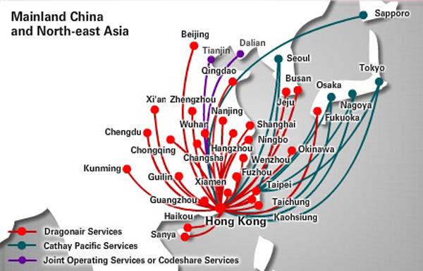 Dragonair 1.2015 China and Japan Route Map