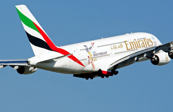 Emirates A380-800 A6-EDZ (99-ICC Cricket World Cup 2015)(Flt)(Emirates)(LR)