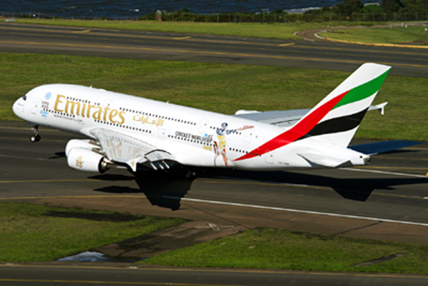 Emirates A380-800 A6-EDZ (99-ICC Cricket World Cup 2015)(Tko)(Emirates)(LR)