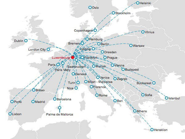 Luxair 1.2015 Route Map