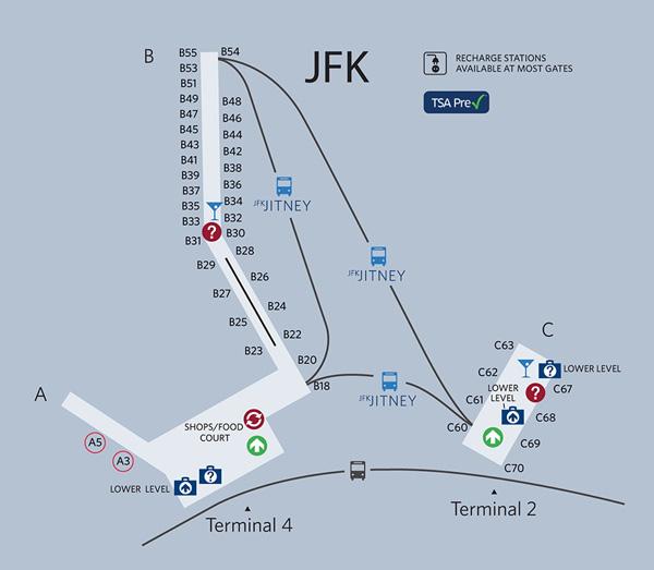 New York JFK Terminal 4 Map