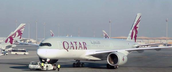 Qatar A350-900 inaugural pushback from Doha 1.15.15 (Qatar)(LR)